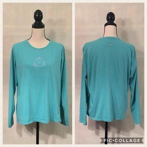 Life is Good aqua blue long sleeve dolphin t-shirt